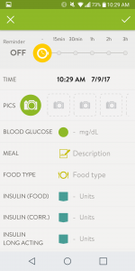 MySugr - BG logging screen