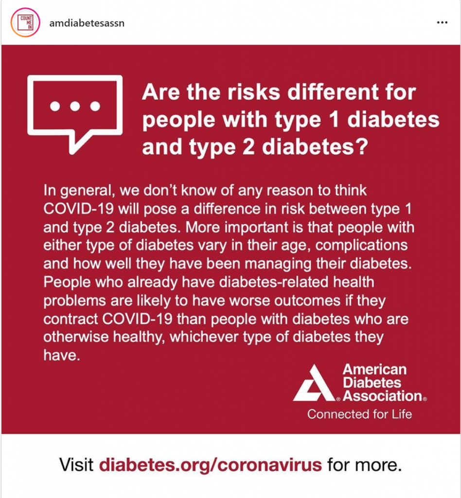 Are the risks different for people with type 1 and type 2 diabetes? The ADA weighs in.