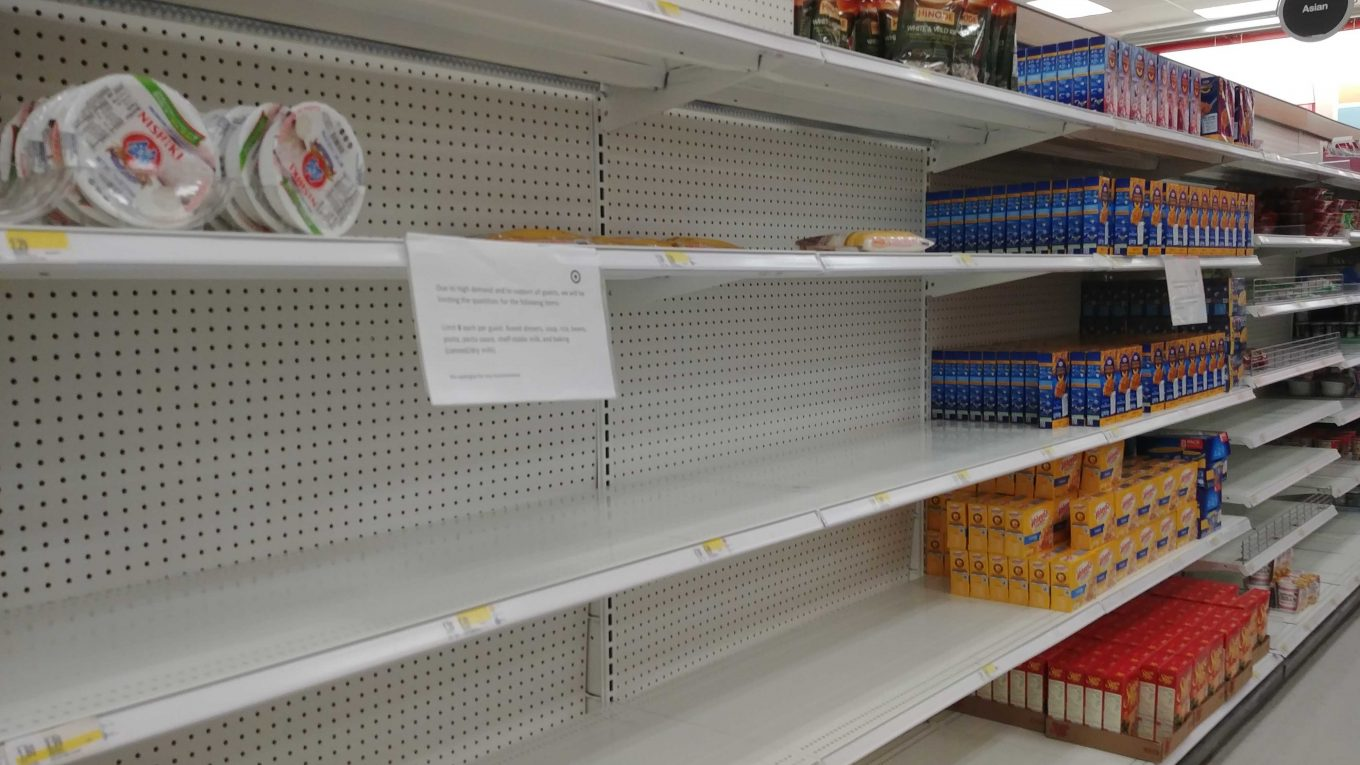 This is a sight we're not used to seeing in the US. Empty grocery shelves and rationing of what is available.