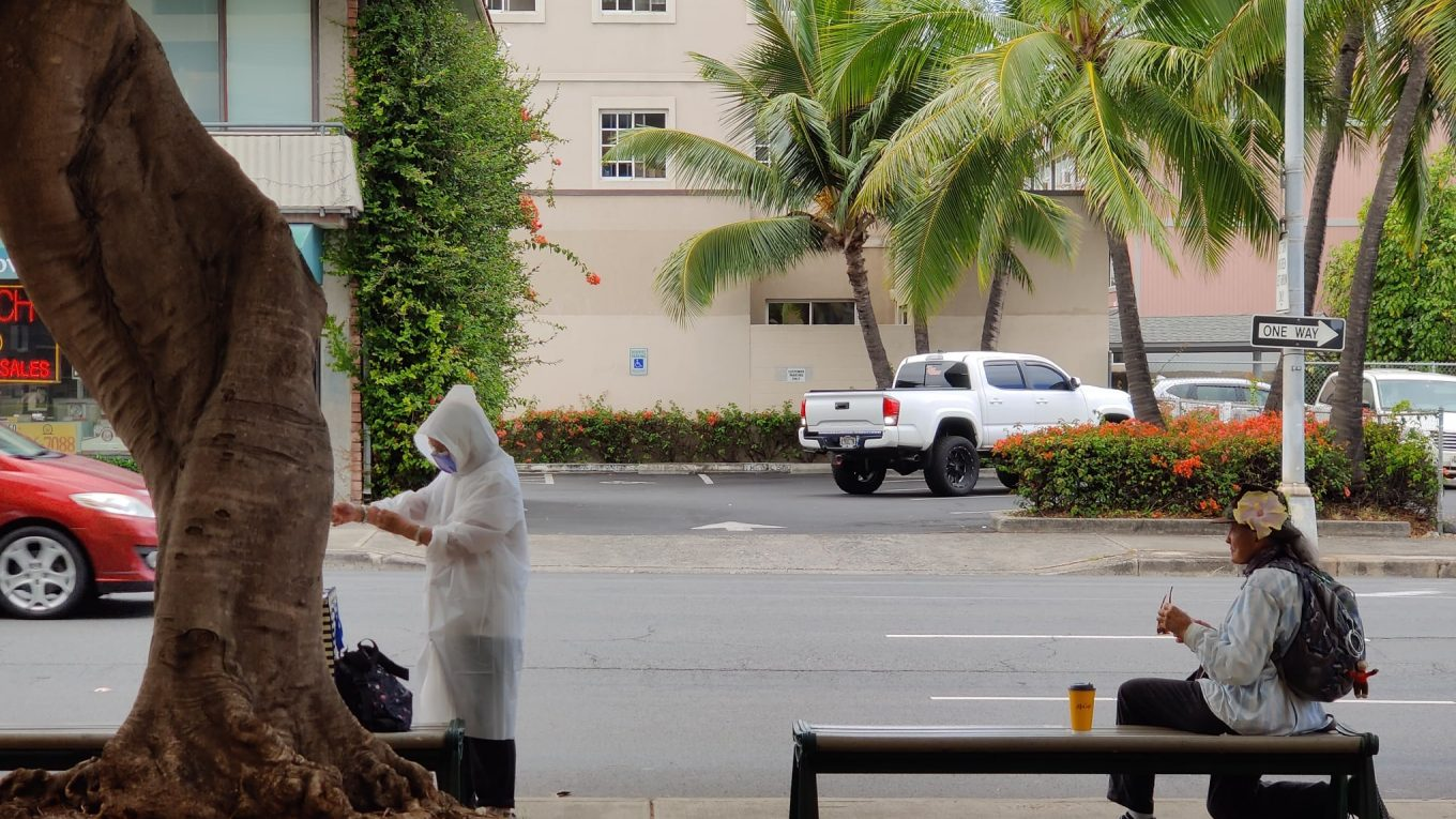 May 28, 2020 - Waiting for a bus in Honolulu